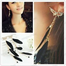 New fashion butterfly black leather crystal Dangel Tassels Chain Stud Earring