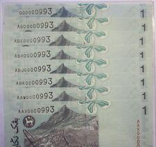 (PL) RM 1 0000993 UNC 8 PCS ALL SAME 4 ZERO LOW NICE FANCY NUMBER PAPER NOTE