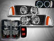 2000-2006 GMC YUKON XL 1500 BLACK HEADLIGHTS HALO W/ BLACK TAIL LIGHTS LED NEW