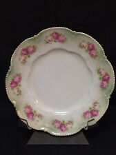 """RS Germany Plate Scalloped Beaded Edge Iridescent Roses on Rim 6 1/2"""""""