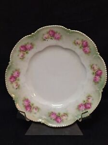 RS Germany Plate Scalloped Beaded Edge Iridescent Roses on Rim 6 1/2""