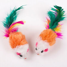 2x Soft Fleece False Mouse Cat Toys Colorful Feather Funny Playing Toys O