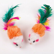 2x Soft Fleece False Mouse Cat Toys Colorful Feather Funny Playing Toys 3C
