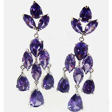 Flawless Rhodium Plated Purple Pear Cut Cubic Zirconia Dangle Drop Earrings Gift