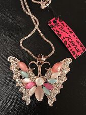 Betsey Johnson Necklace Butterfly Gold Crystals  Stones Butterfly