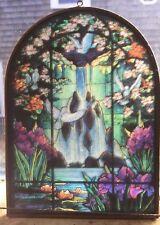 suncatcher peace doves waterfall pattern brass framed vintage
