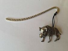 A65 Wild Boar 2  Pattern bookmark with cord 3D English pewter charm