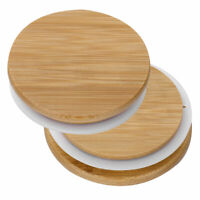 For Regular/Wide Mouth Mason Jar Reusable Bamboo Cap Lids Cover w/Sealing Gasket