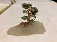 ANTIQUE VINTAGE JADE GOLD GARDEN BONSAI TREE On CRYSTAL