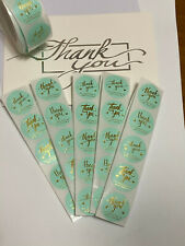 50 Thank You For Supporting My Small Business Aqua Teal Sticker Labels