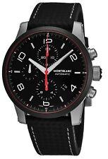 Mont Blanc Men's Timewalker Black Dial Extreme Strap Automatic Date Watch 112604