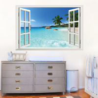 Hawaii Landscape False Window Wall Sticker Living Room Art Decals Home Decor PVC