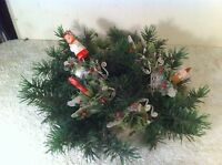 Vintage Plastic Christmas Candle Ring 5in Green Juniper branch  Wreath