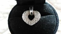 14K White Gold Chubby Heart with Diamonds