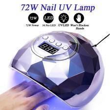 72W 36LEDS Holographics Nail UV LED Lamp Nail Dryer Gel Nail Polish Cure Machine