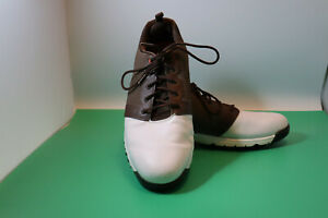 Men's Pre-Owned Footjoy Contour Golf Shoes 54096 Size 11N White and Brown