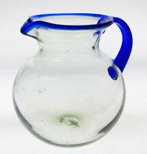 Mexican Glass Pitcher, hand blown, blue rim, 4 quarts, Bola design