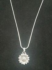 Silver Sunflower Necklace Pendant on Sterling Silver Chain