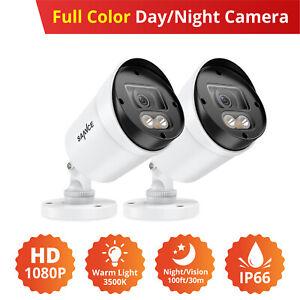 SANNCE 2pcs White Full Color Outdoor CCTV Camera 3500K Warm Light Security Kit