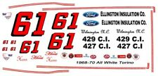 #61 Hoss Ellington 1968-70 Ford Torino 1/24th - 1/25th Scale Decals