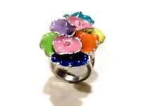 Bijou bague fleurs fantaisie émaillée strass multicolore ring idéal pour cadeau