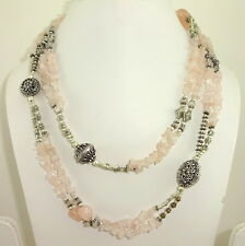 NATURAL CHIPS PINK ROSE QUARTZ GEMSTONE BEADED LONG NECKLACE 108 GRAM 38 INCHES