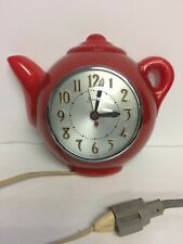 SESSIONS vintage model 339-W red plastic TEAPOT WALL CLOCK