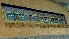 ANTIQUE CHINESE LONG GOLD THREAD SILK EMBROIDERY BANNER W/FOO-LIONS,IMMORTAL,ETC