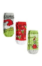 Primark The Grinch Ladies Girls Socks Shoe Liners Womens  3 Pair Pack Size 4-8