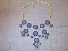Blue Bubble Style Statement Necklace by ETC! - 16 inches - Gold Tone Chain