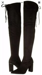 MARC FISHER Knee High BOOTS Size: 10 (US) New SHIP FREE Almond Toe, Black