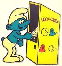 Original Vintage 80s Smurf Playing Pacman Arcade Game Iron On Transfer