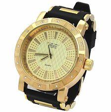 Mens Gold Case Iced Hip Hop Fashion Black Silicone Quartz Wrist  Watch millano 2