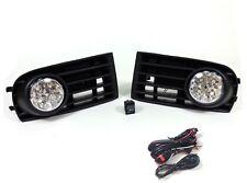 LED FOG LIGHTS LAMPS GRILLES SET FOR VW GOLF 5 MK5 2003-2009 & WIRING KIT