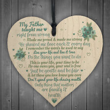 My Father Fathers Day Dad Wood Heart Sign Memorial Plaque for Him Daughter Gift