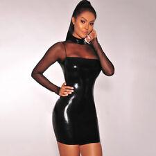 Wet Look - Vinyl - PVC Mesh Bandage Black Body Con Short Mini Dress UK 12 Fetish