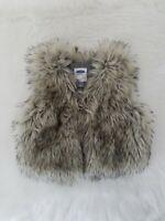 Old Navy Natural Beige Faux Fur Vest, Girls 3T 3A