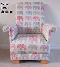 Clarke Elephants Pastel Fabric Child Chair Animals Kids Grey Pink Armchair Grey