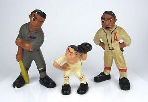 1941 Lafayette Rittgers Baseball Chalkware Pitcher Batter Catcher Figurines