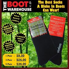 TBW Bamboo Work Boot Socks. Safety, Leather, Soft Toe & Steel Cap Workboots Sox