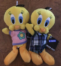 "Warner Brothers Tweety Bird Lot Of 2 1998 8"" Bean Bag Plush - Nwt"