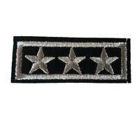 1 x 3 SILVER Stars (Bar) Iron on Sew On Patches Military General Style