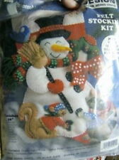 Frosty Snowman Felt Stocking Kit #5029, Raccoon, Squirrel- 16 Inches Long