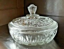 Vintage Avon Vanity Powder Box Candy Serving Dish Trinket Clear Glass Bowl & Lid