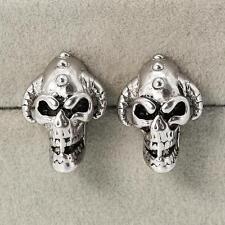 New! Men's Black Silver Evil Skull Death's Head Ghost Earring Stud Eardrop Decor