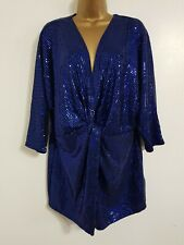 Ex DP 18 20 22 24 Blue Sequin Embellished Twist Front Tunic Top Blouse Party