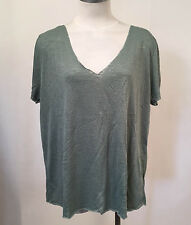 Project Social T Women's V-Neck Shirt Textured Knit Moss XS NWT Urban Outfitters