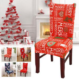 Merry Christmas Santa Snowman Elk Chair Back Cover Xmas Home Kitchen Seats Decor