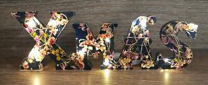 """Handmade """"XMAS"""" Light Up LED Resin Plaque Home Decor Sign, Christmas, Wedding"""