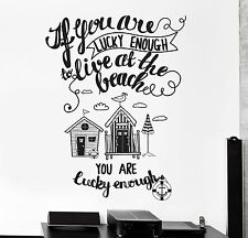 Wall Decal Quote Ocean Beach If You Are Lucky Enough Leave At The Beach z4000